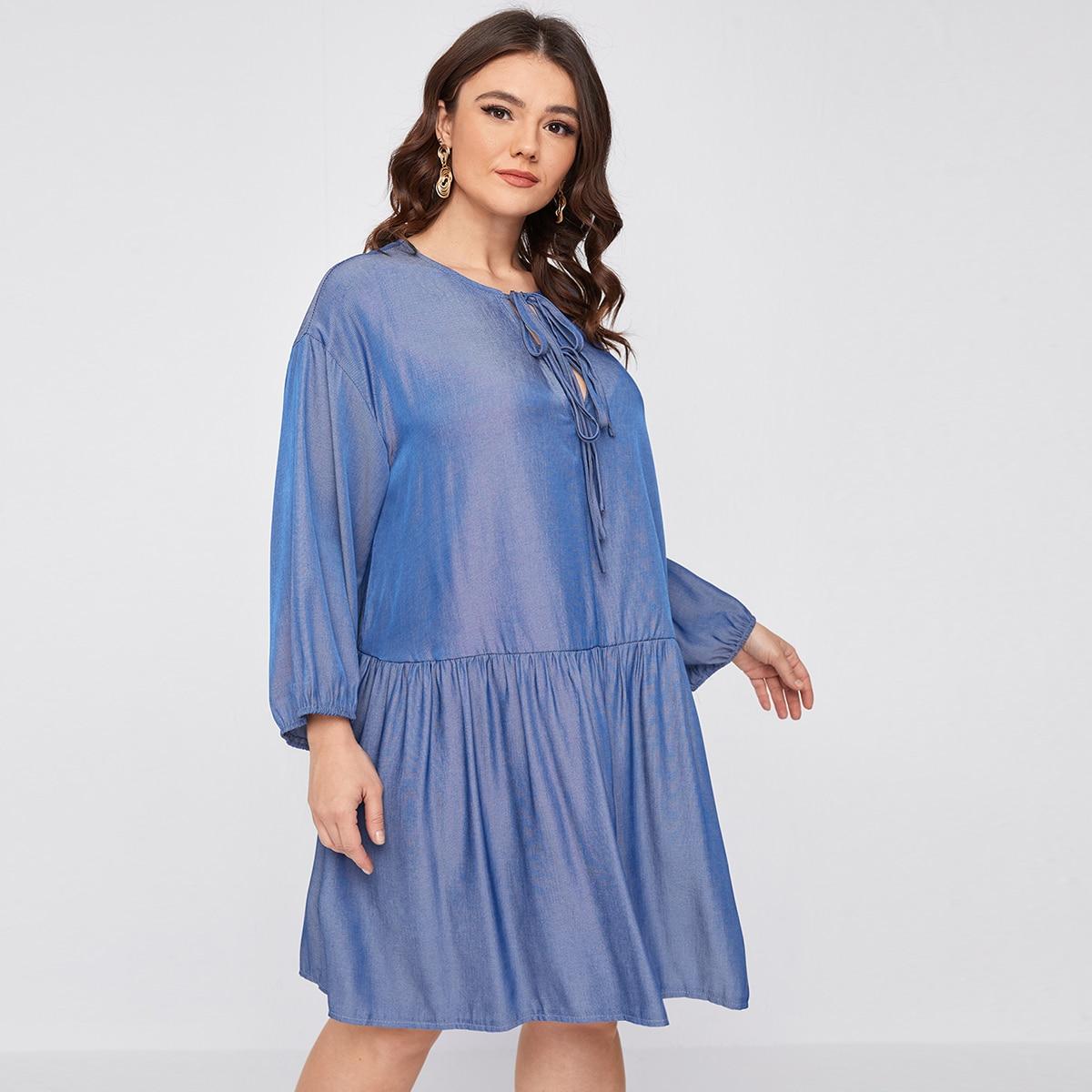 С оборками Одноцветный Повседневный Джинсовые платья размер плюс