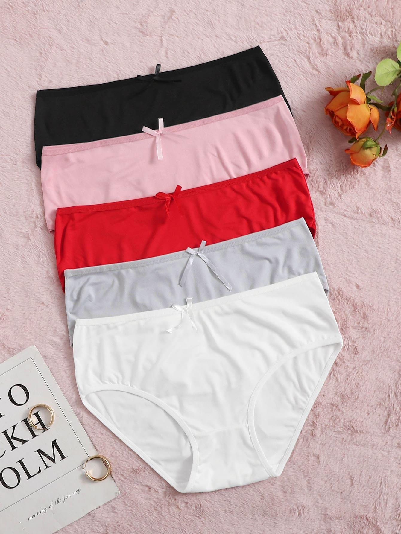 5pack Plus Bow Decor Panty Set thumbnail