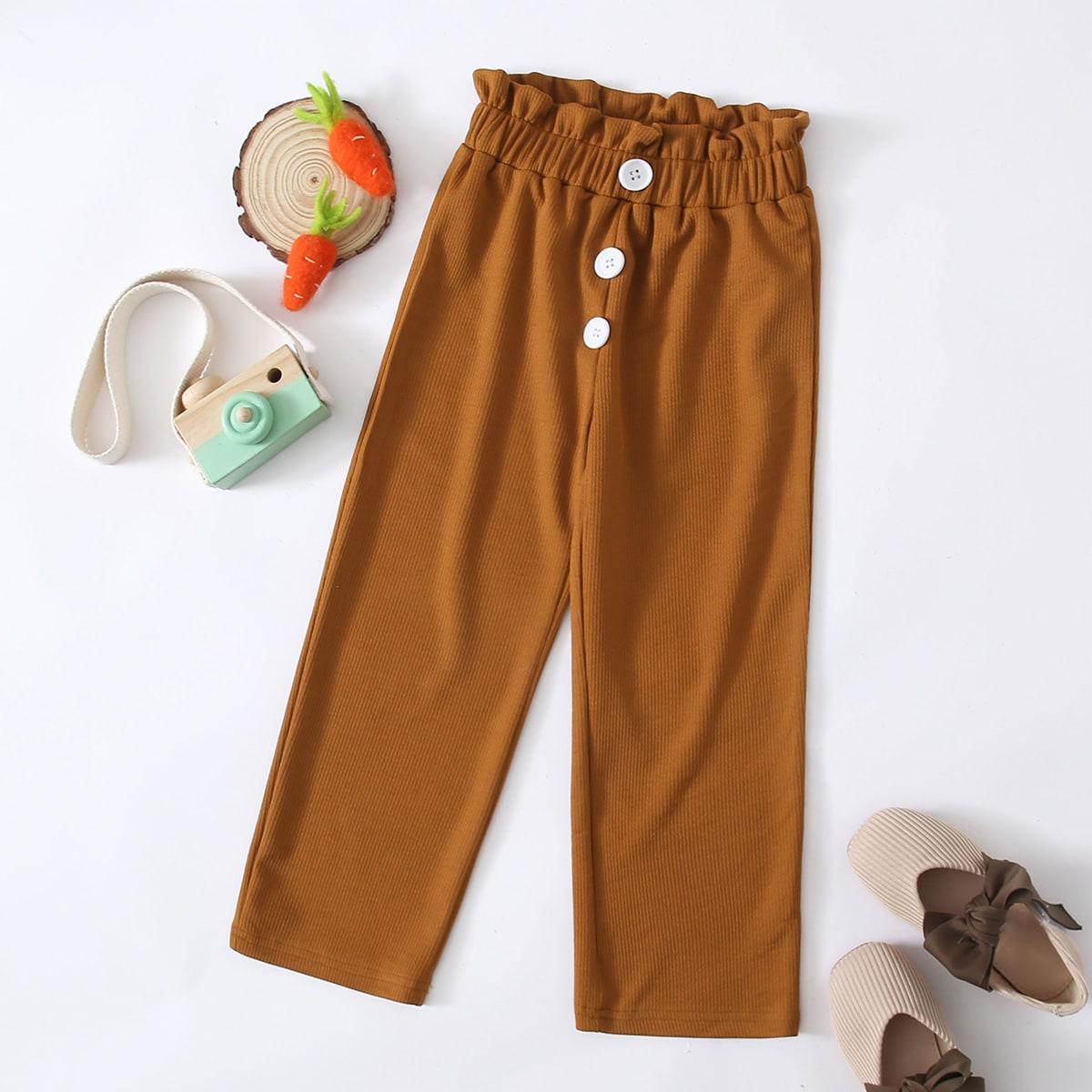 Пуговица одноцветный повседневный брюки для маленьких девочек
