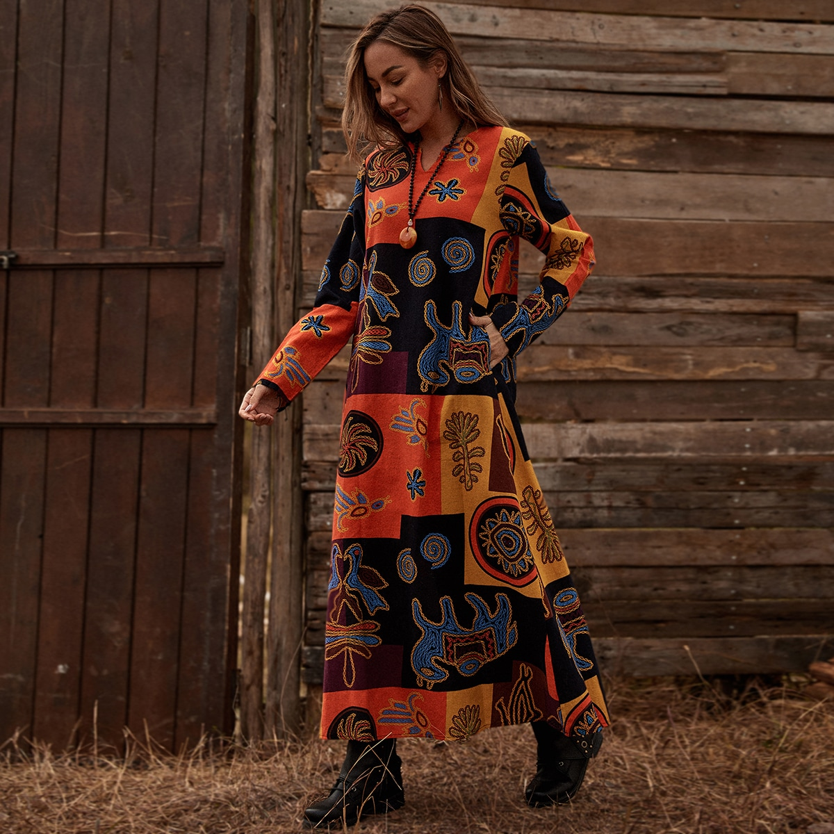 Этнический принт Бохо Платье