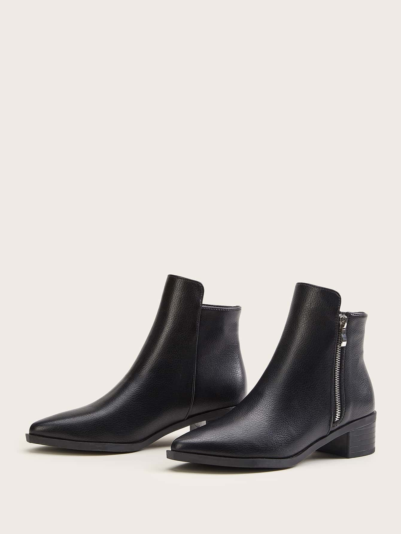Point Toe Zipper Side Ankle Boots thumbnail