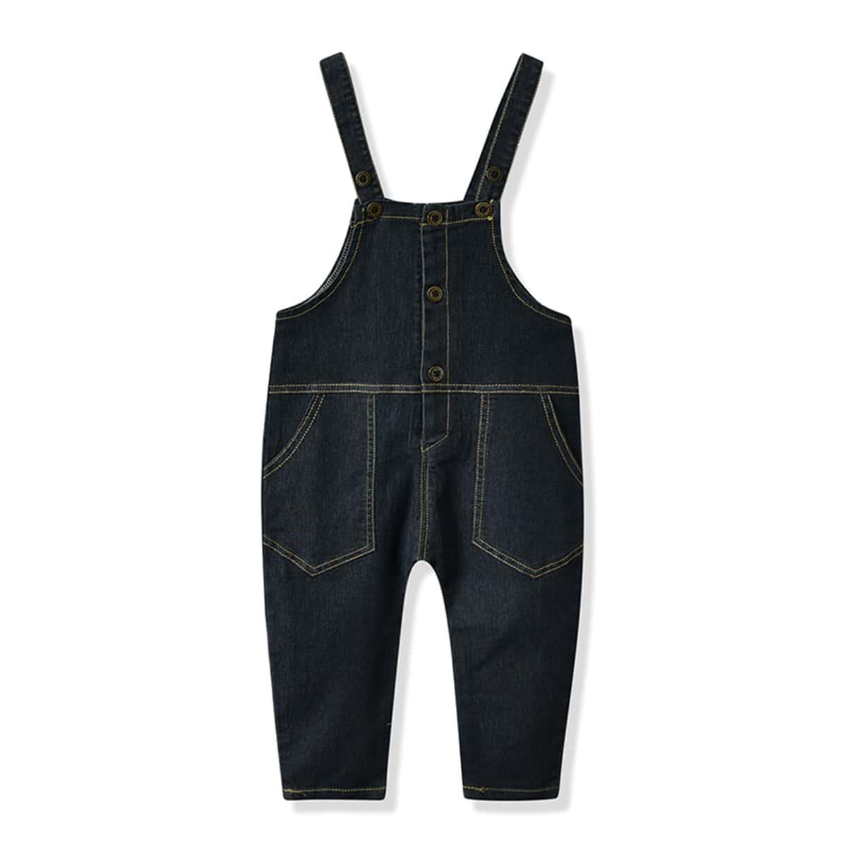 Однотонный джинсовый комбинезон с карманами для девочек