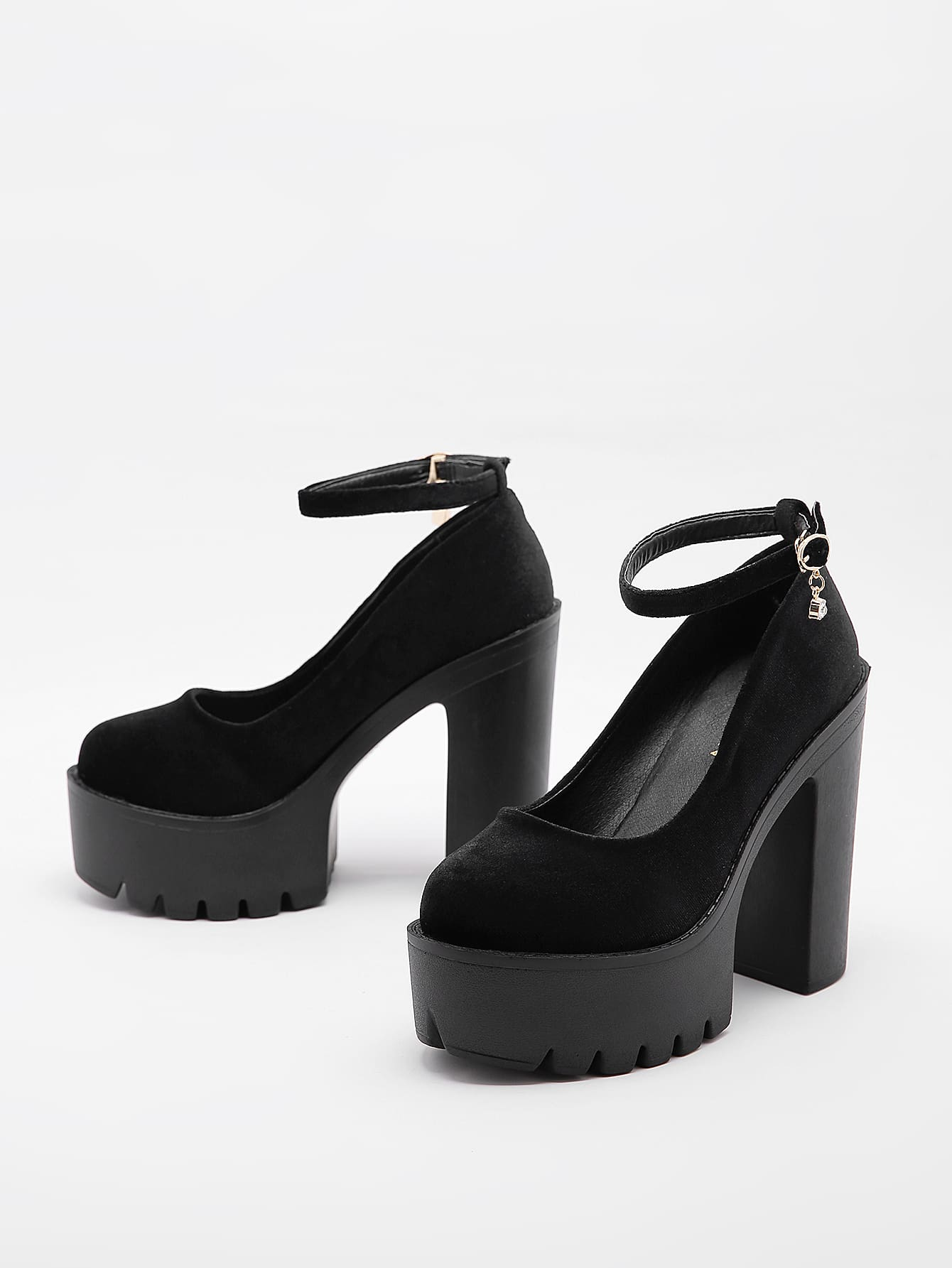 Round Toe Chunky Heeled Ankle Strap Pumps thumbnail
