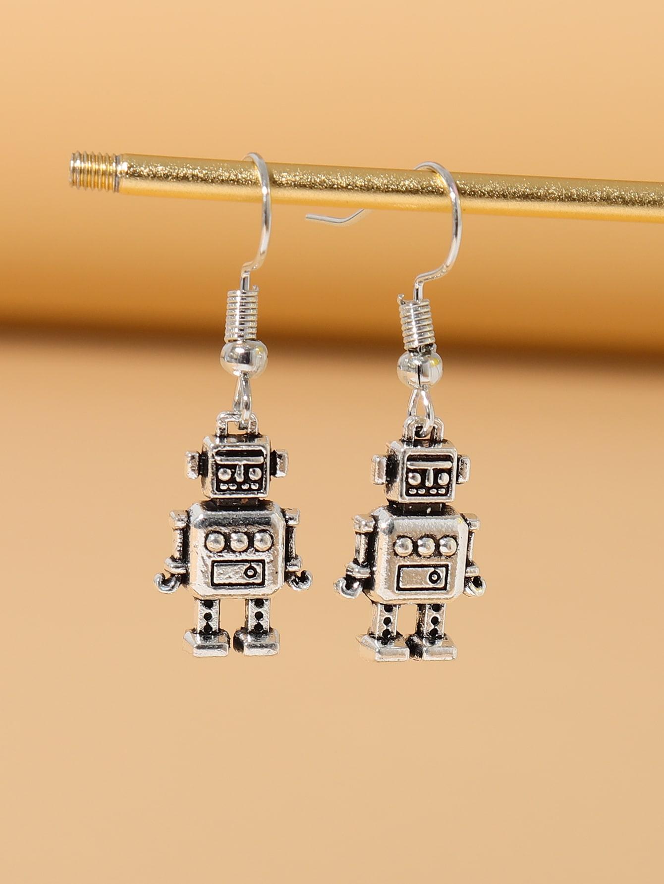 Robot Design Drop Earrings thumbnail