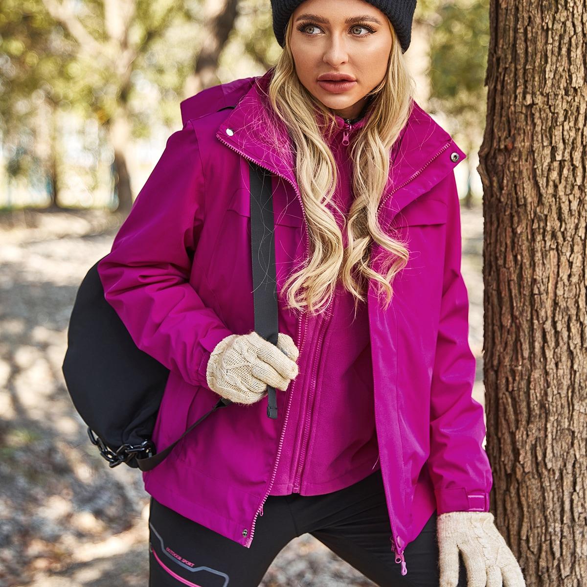 с карманами Одноцветный Спортивные куртки
