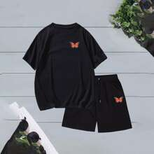 Guys Butterfly Print Tee With Drawstring Waist Shorts