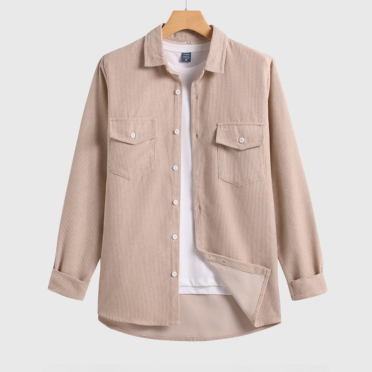 Карман Одноцветный Повседневный Мужские рубашки SheIn smshirt01201214909