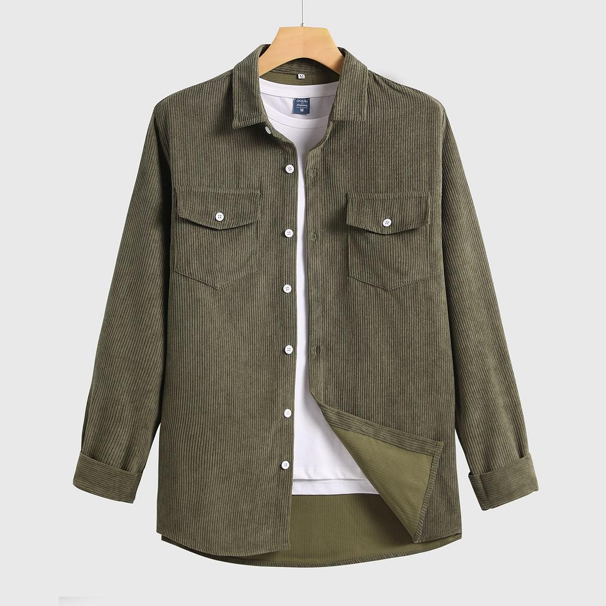 Карман Одноцветный Повседневный Мужские рубашки SheIn smshirt01201214590
