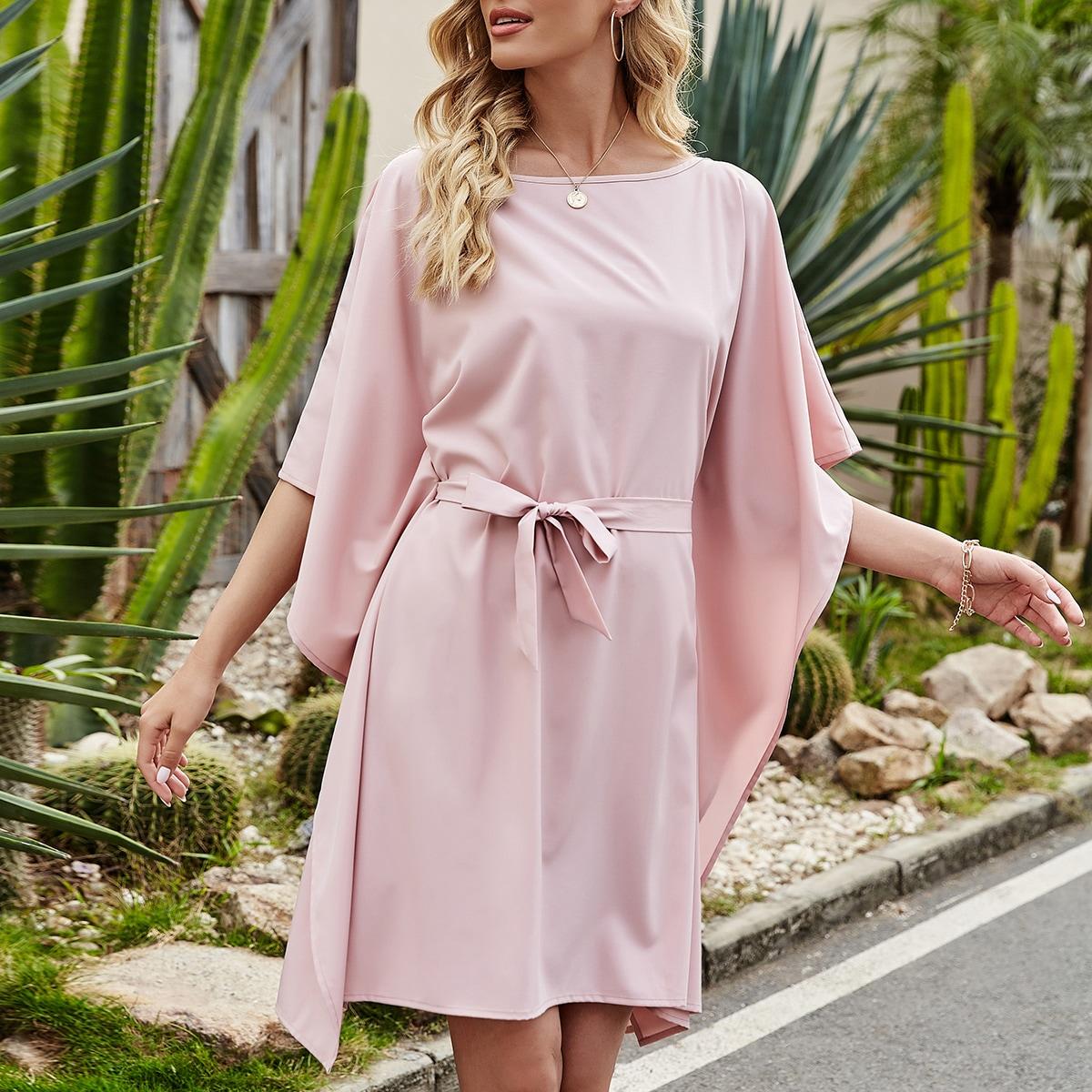 с поясом Одноцветный Элегантный Платье