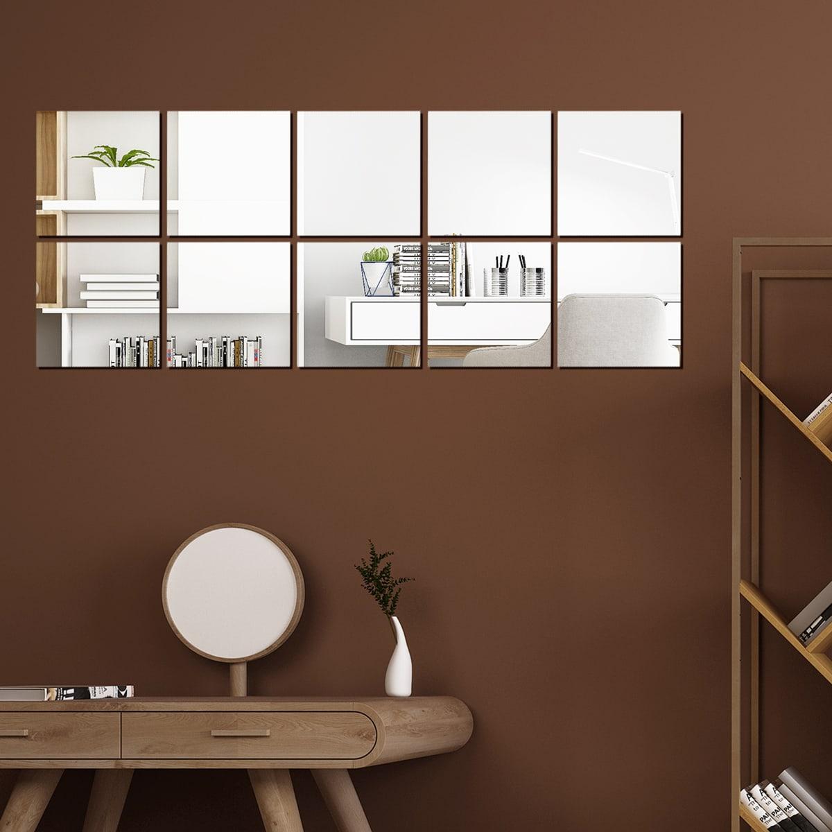 10шт квадратная наклейка на стену с зеркальной поверхностью