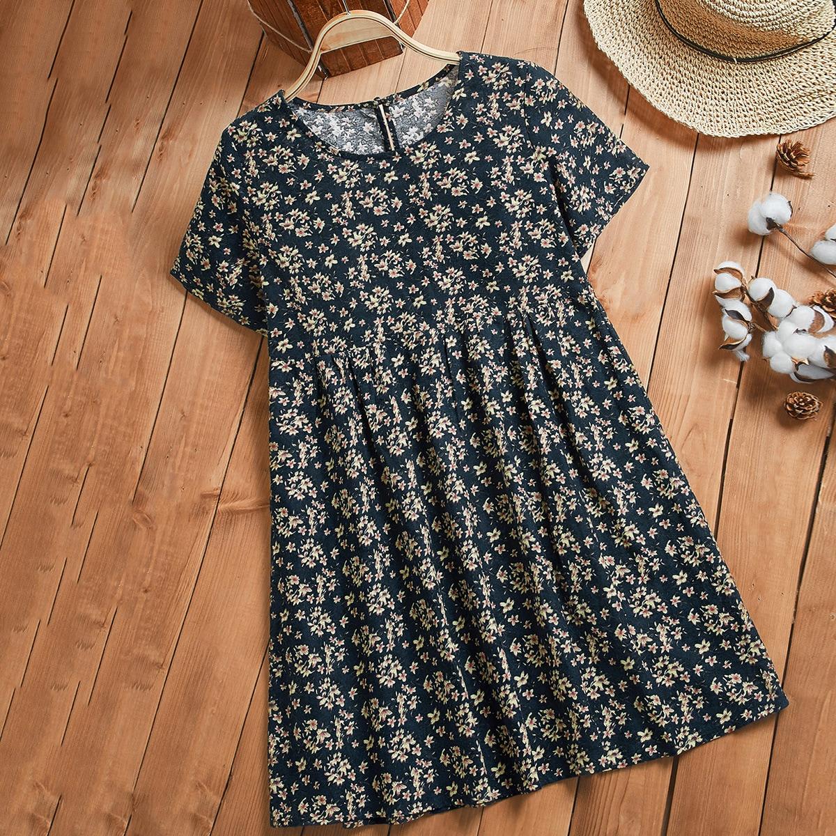 Цветочный принт Повседневный Платье