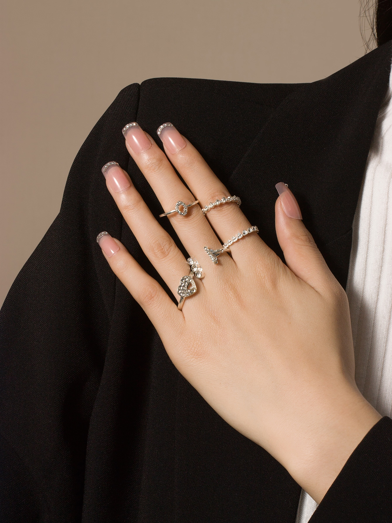 5pcs Rhinestone Detail Ring thumbnail
