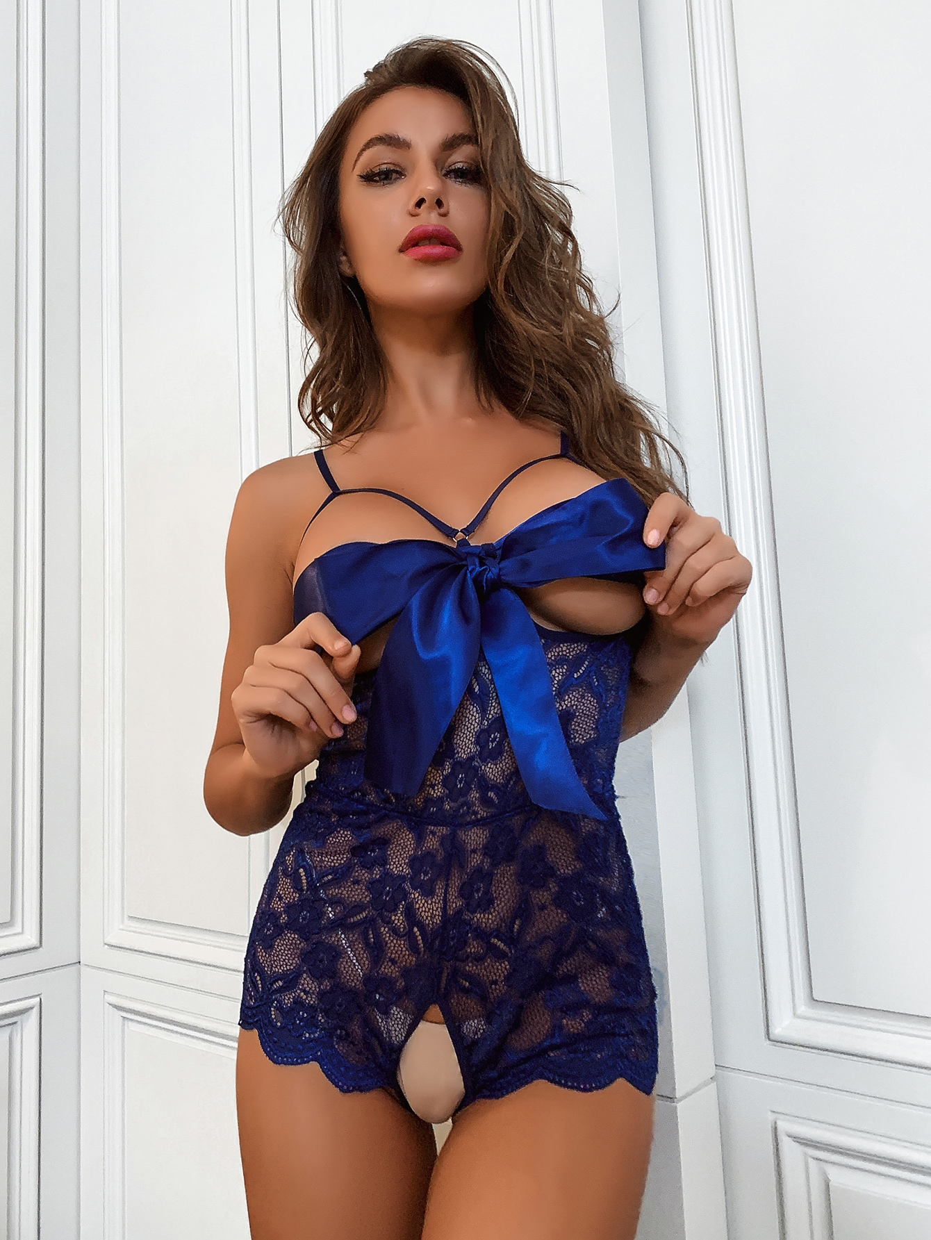 Floral Lace Bow Front Crotchless Teddy Bodysuit thumbnail