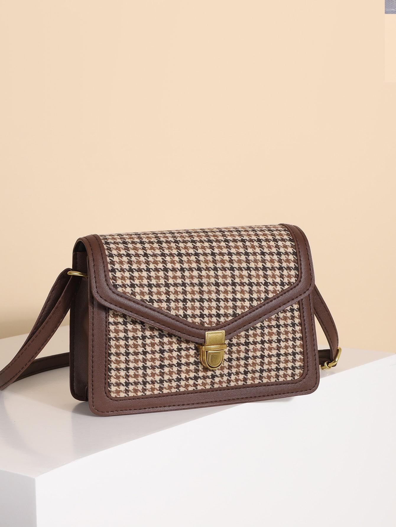Houndstooth Pattern Flap Crossbody Bag thumbnail