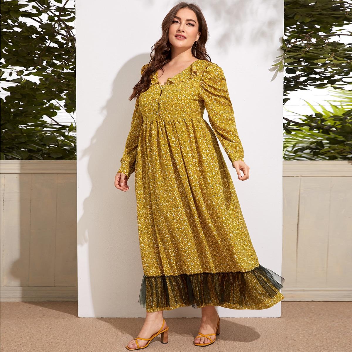 Платье размера плюс с цветочным принтом и сетчатой отделкой
