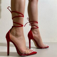 Clear Stiletto Heeled Lace Up Sandals