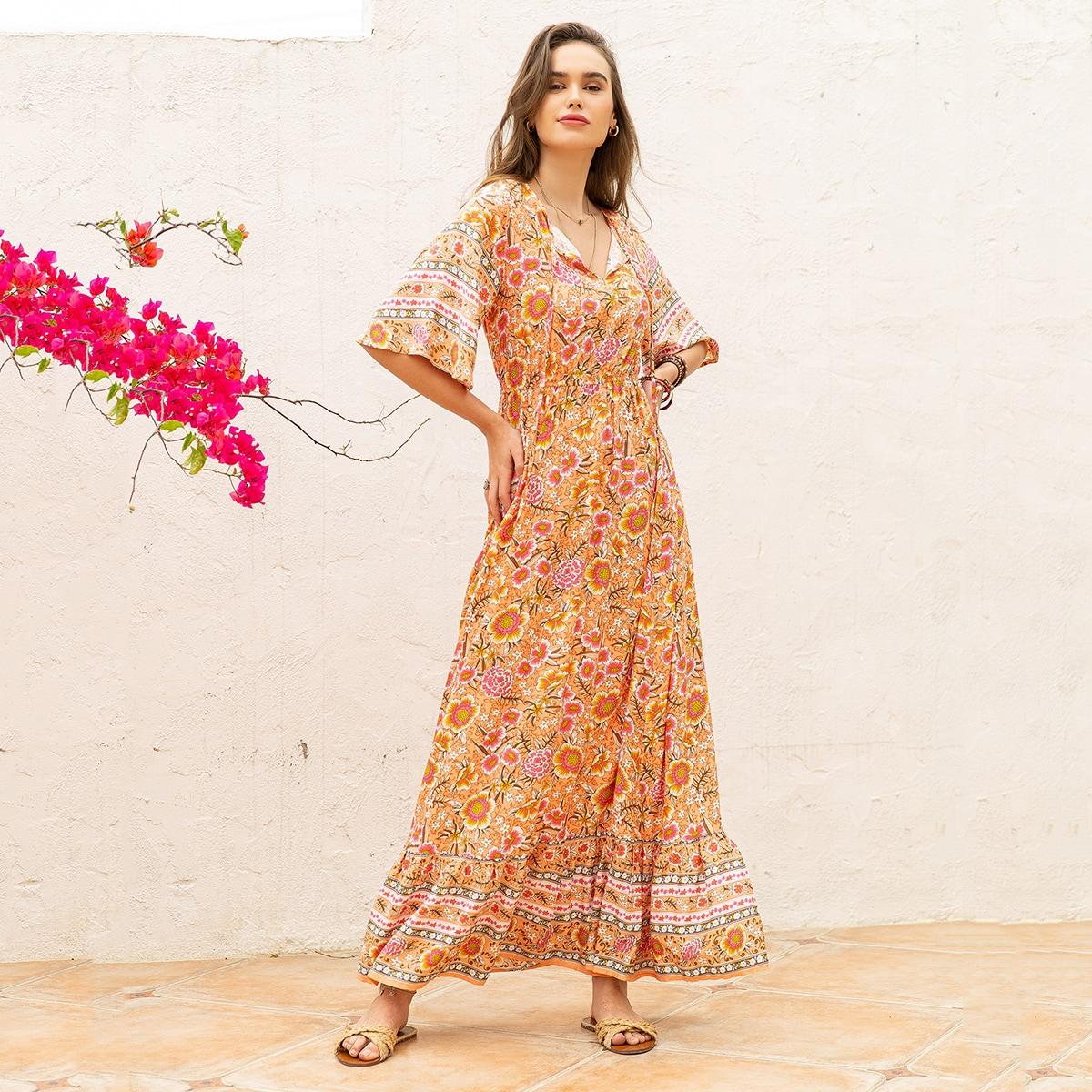 С оборками Цветочный принт Бохо Платье