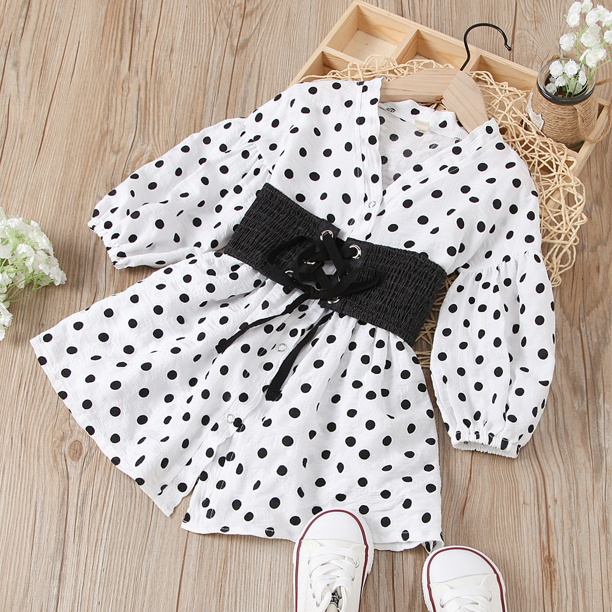 Toddler Girls Polka Dot Corset Popper Front Dress, SHEIN  - buy with discount