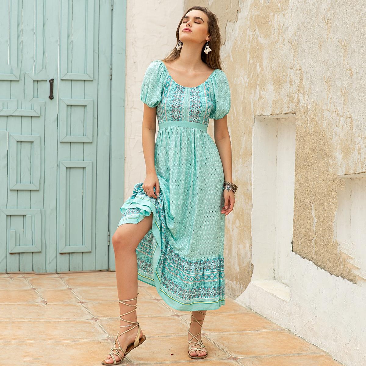С оборками Этнический принт Бохо Платье