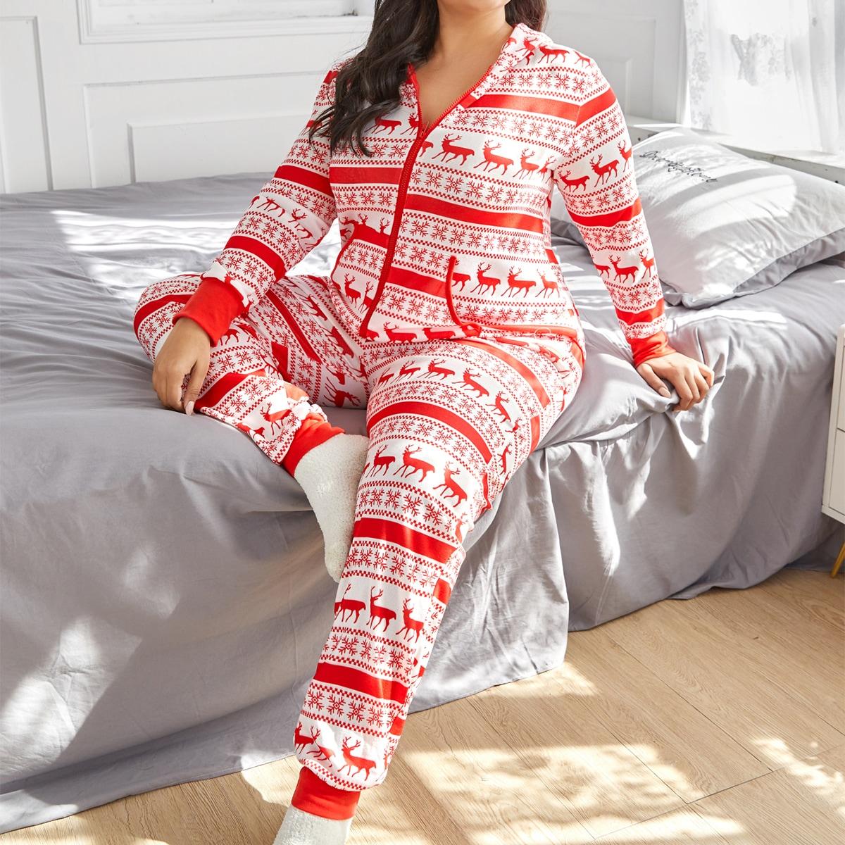 На молнии рождество милый пижамный комбинезон размера плюс