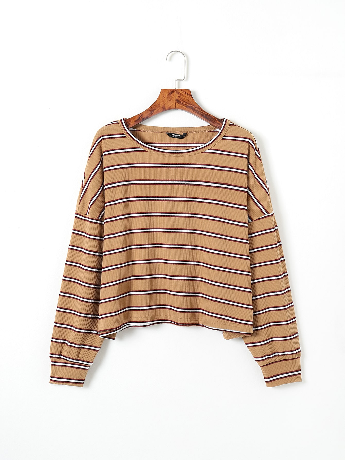 Plus Striped Rib Drop Shoulder Tee thumbnail