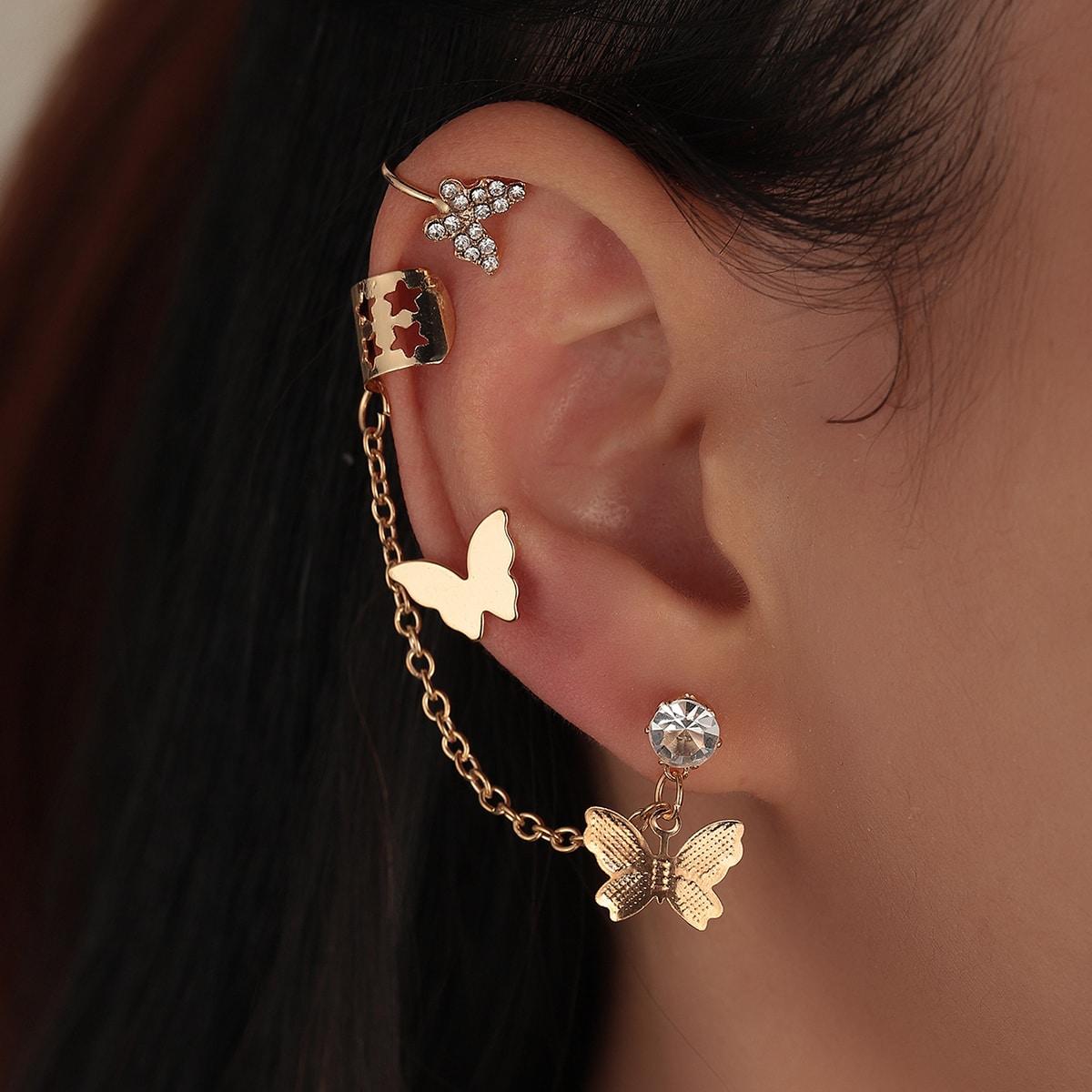 3pcs Butterfly Decor Earrings Set