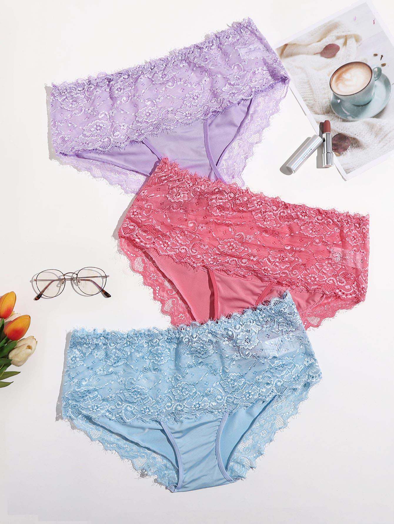 3pack Plus Floral Lace Panty Set thumbnail