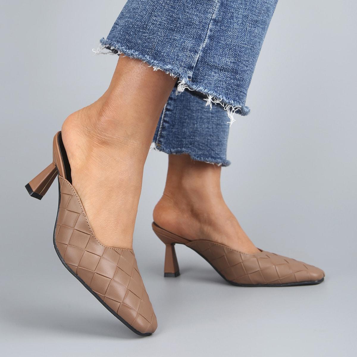 Мюли на высоком каблуке с квадратным носком
