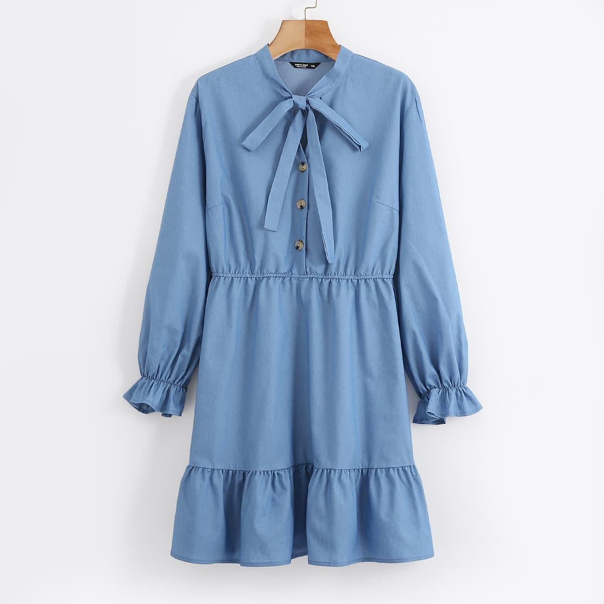 С оборками одноцветный институтский джинсовые платья размер плюс