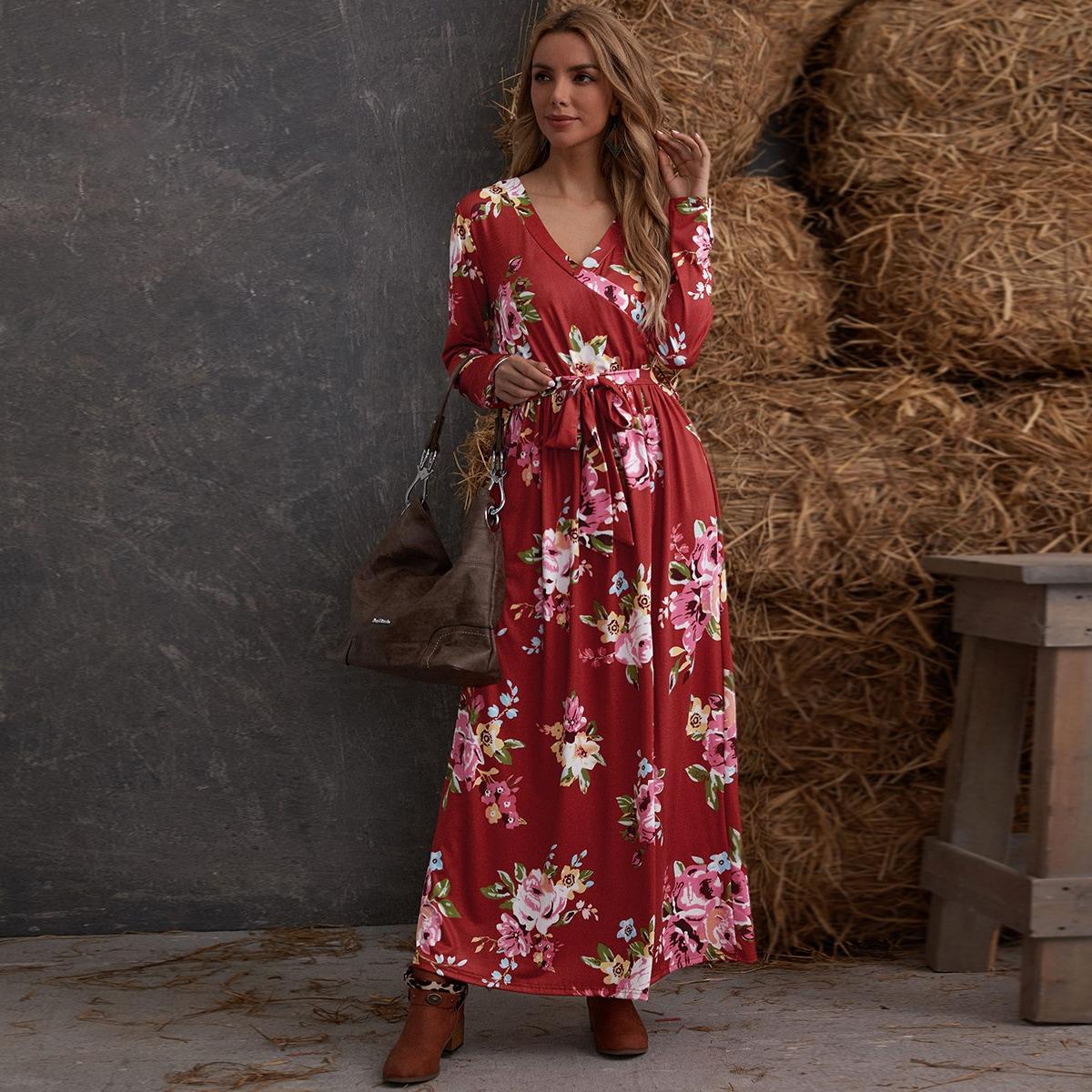 с поясом Цветочный принт Элегантный Платье