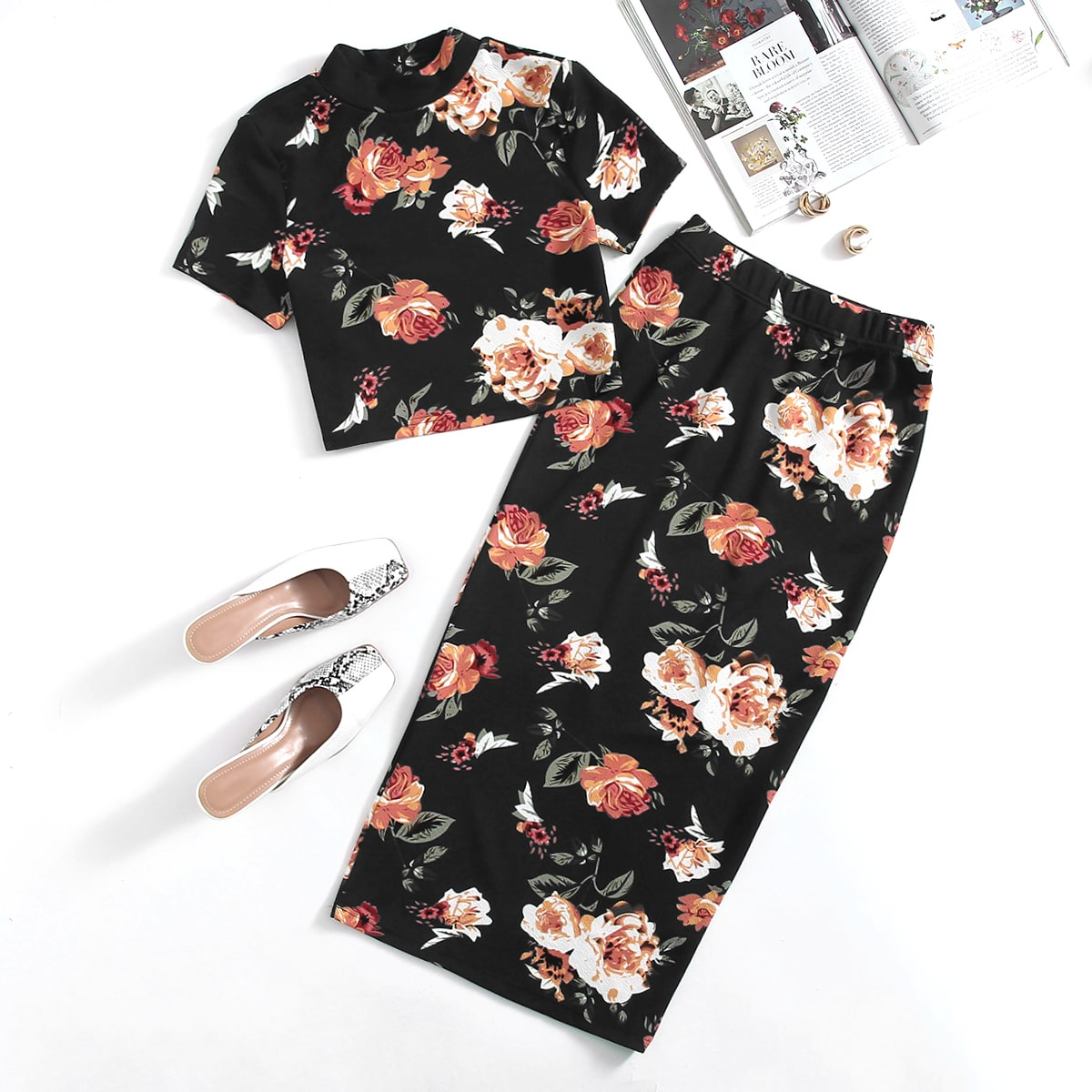 Mock-Neck Floral Top & Skirt Set, SHEIN  - buy with discount