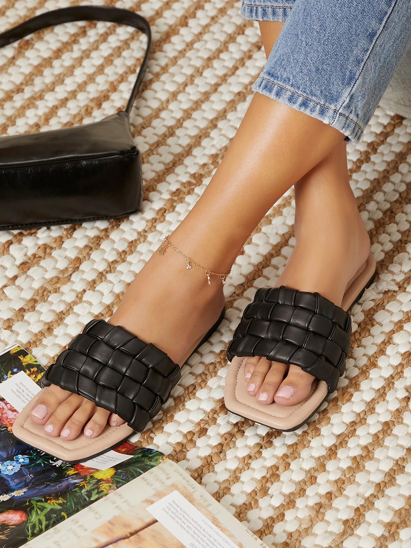 Faux Leather Textured Vamp Slide Sandals thumbnail