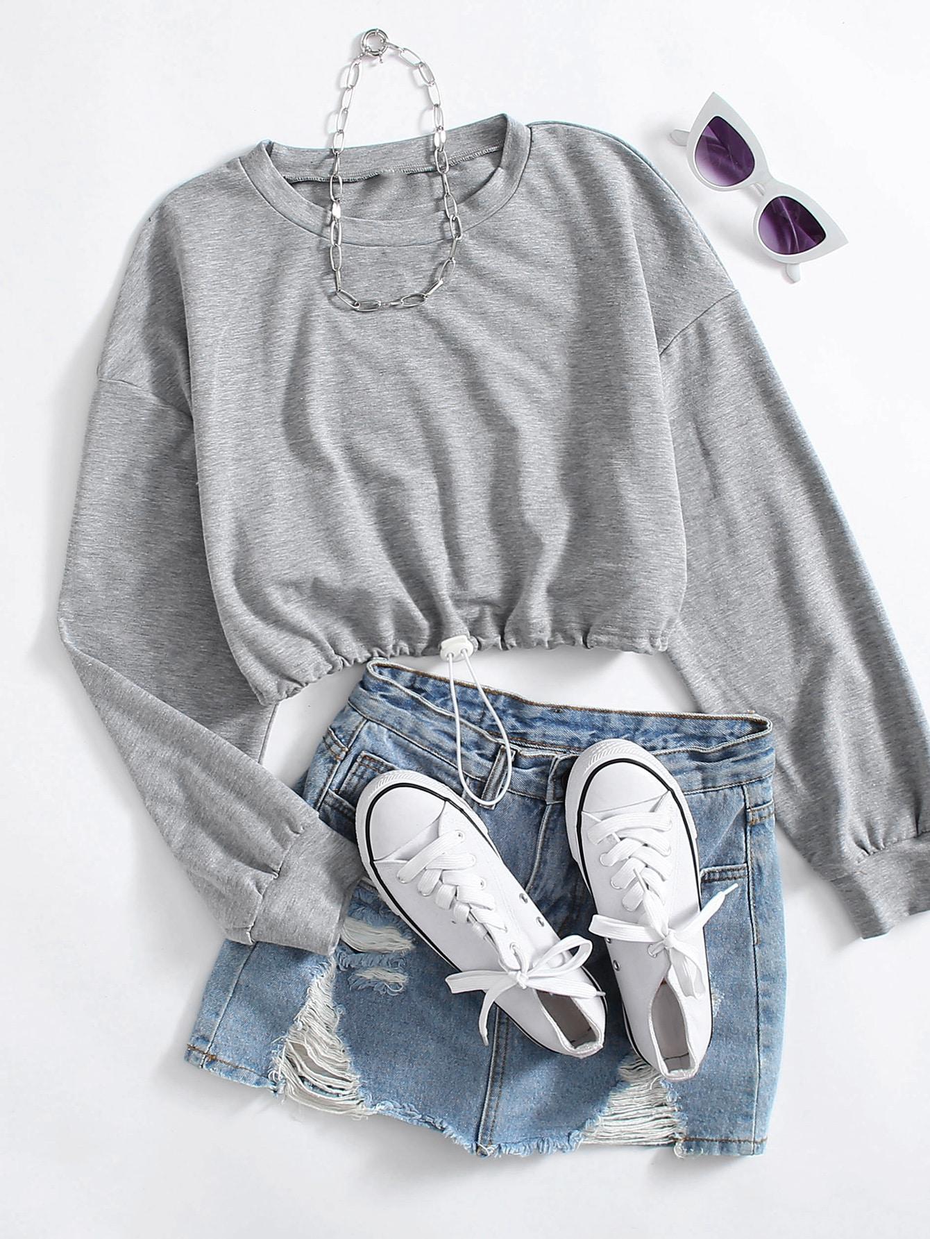 Drop Shoulder Solid Crop Sweatshirt thumbnail
