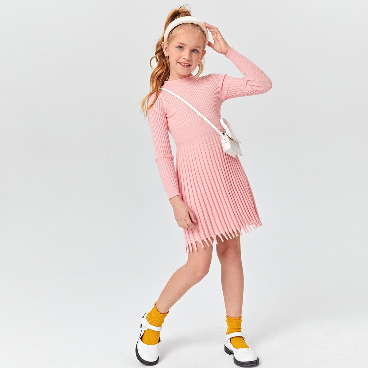 С бахромой одноцветный повседневный трикотажные платья для девочек