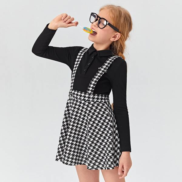 Girls Crisscross Back Houndstooth Overall Dress, Black and white