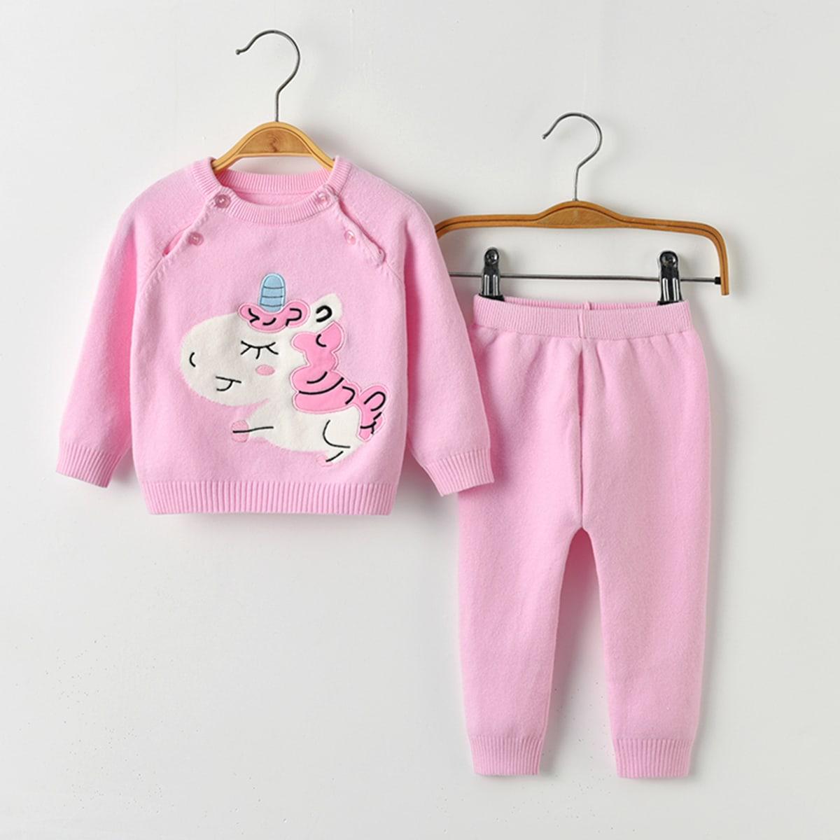С вышивкой мультяшный принт повседневный трикотажные комплекты  для малышей