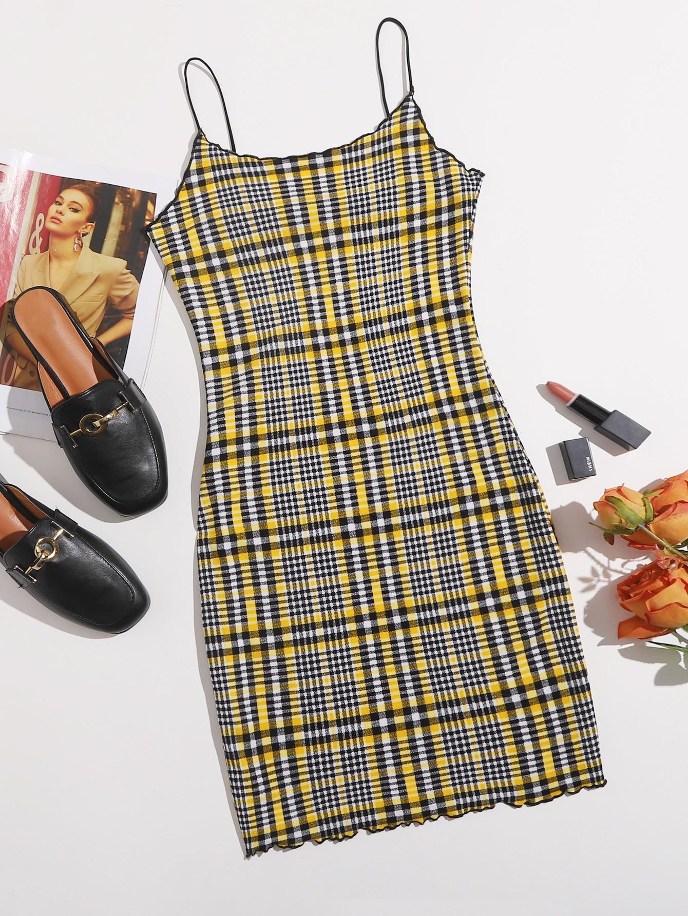 Plaid Lettuce Trim Bodycon Dress thumbnail
