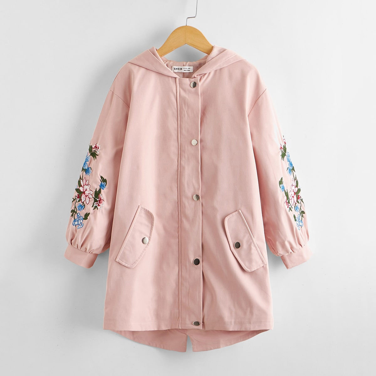 Girls Floral Embroidered Hooded Coat
