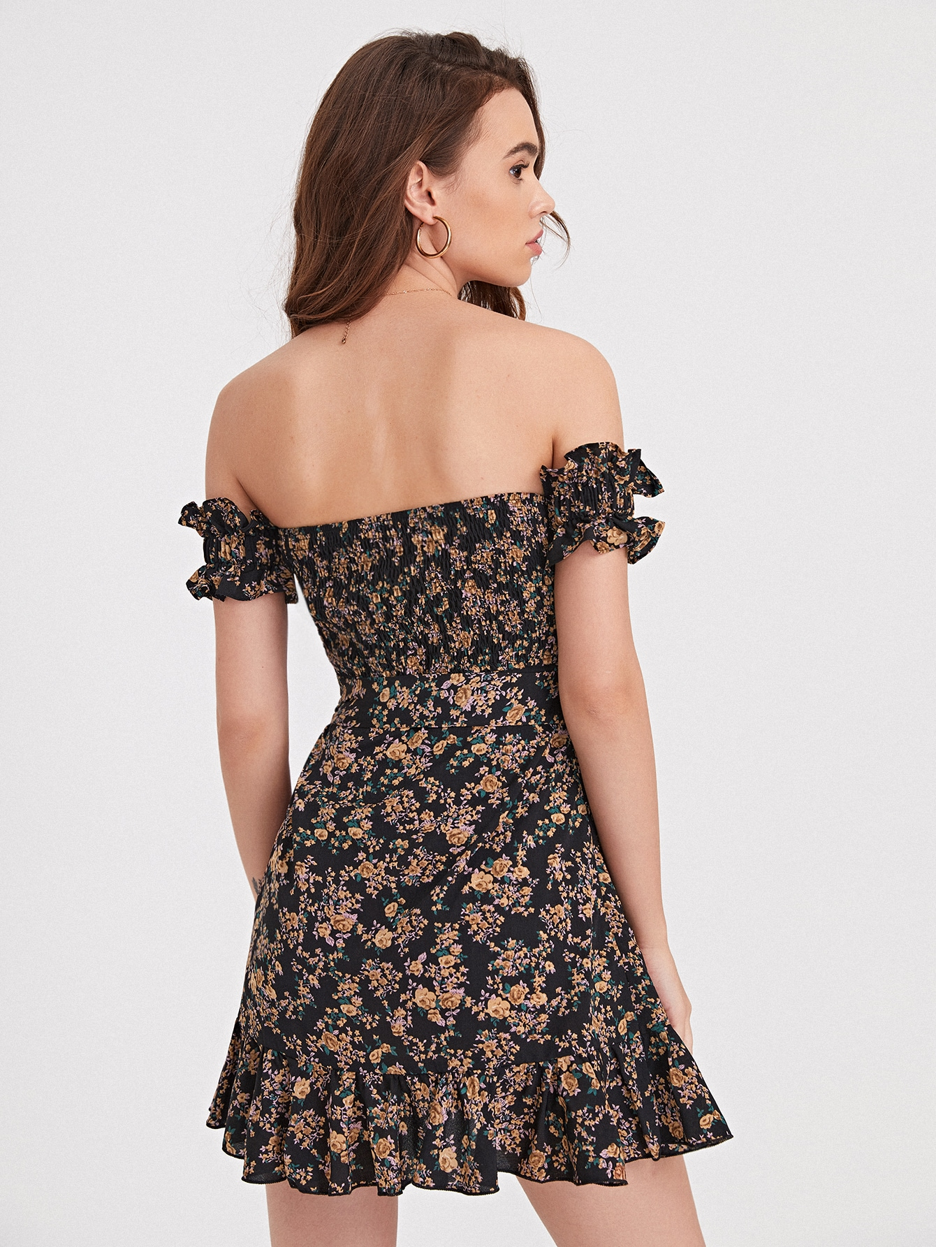 Floral Off Shoulder Ruffle Hem Dress thumbnail