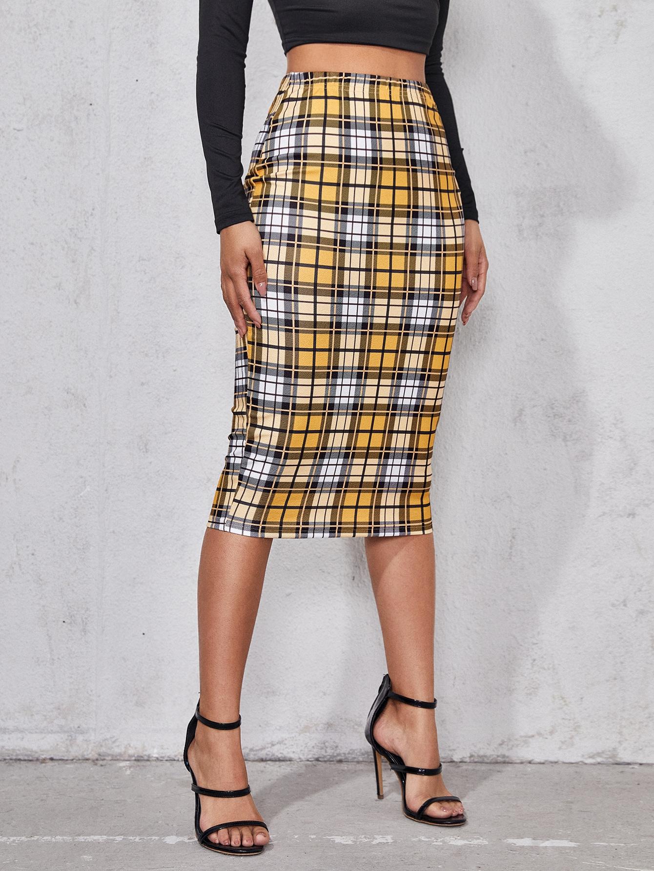 Plaid High Waist Pencil Skirt thumbnail