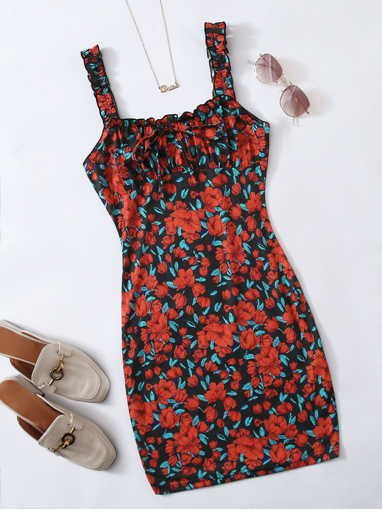 Tie Front Ruched Bust Floral Dress thumbnail