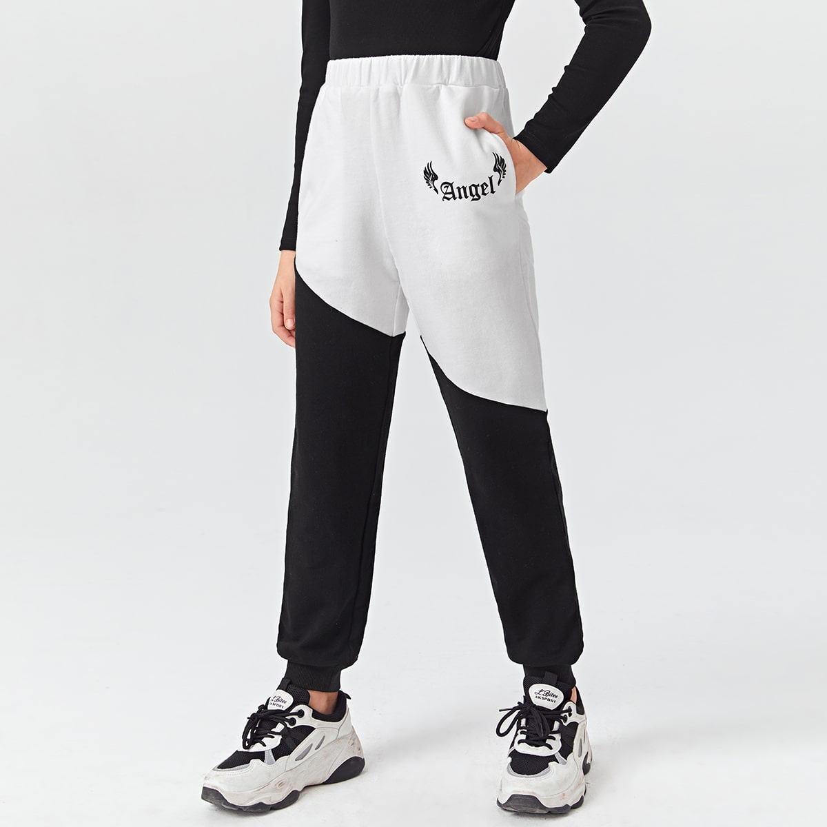 Girls Letter Graphic Colorblock Sweatpants, SHEIN  - buy with discount