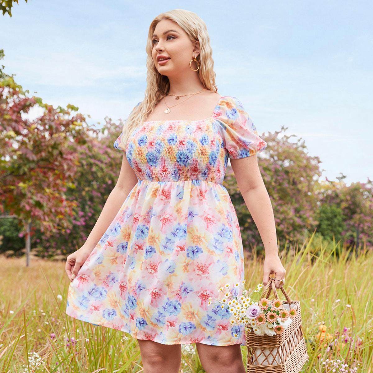 Оборка Цветочный Бохо Платья размер плюс