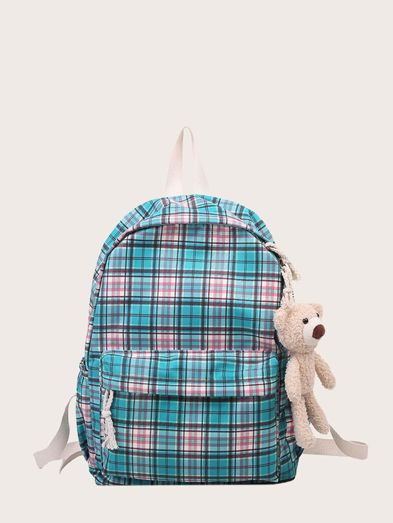 Bear Charm Plaid Backpack thumbnail