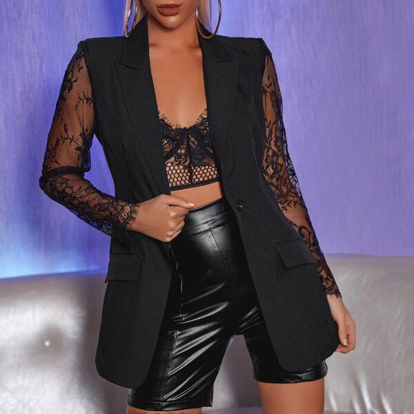 Contrast Lace Sleeve Single Button Blazer, Black