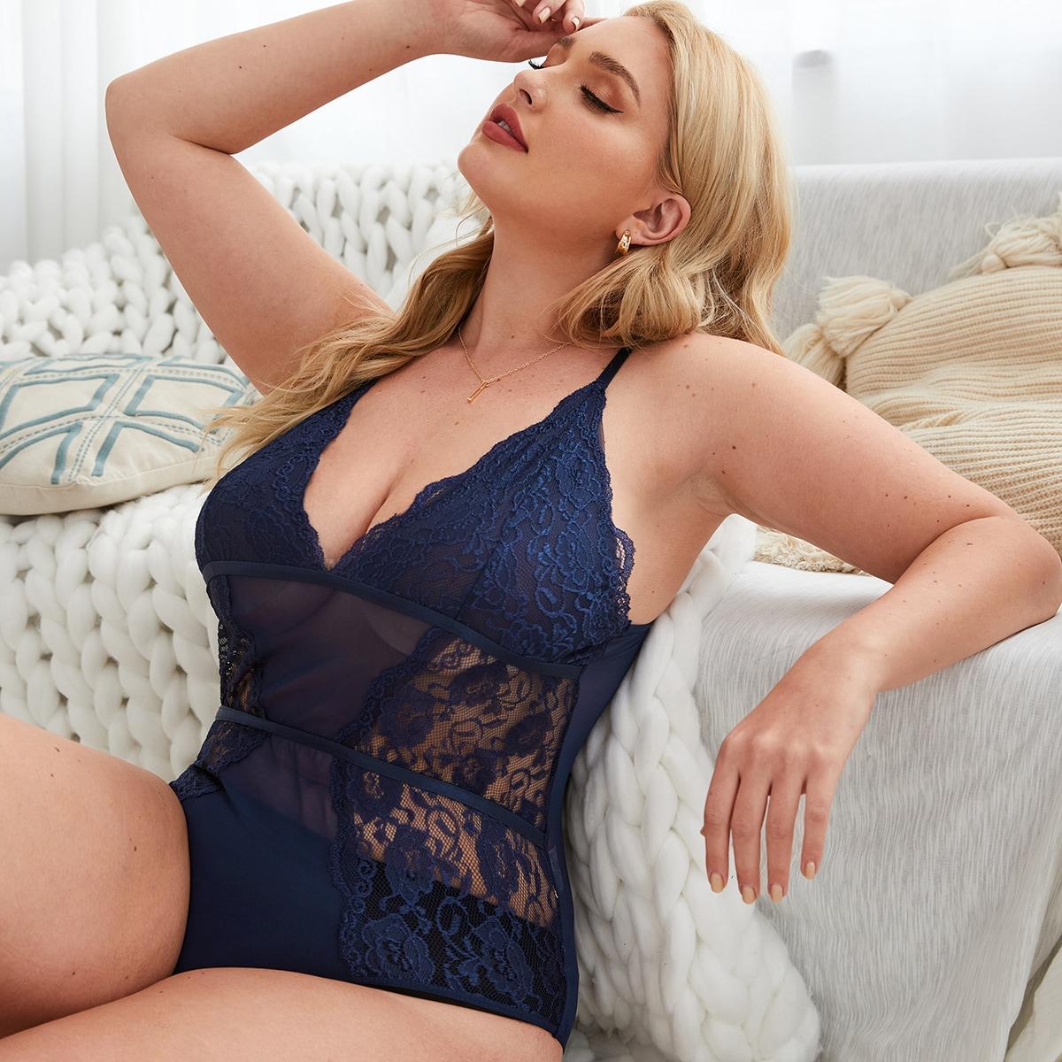 Контрастные кружева Одноцветный Романтический Сексуальное женское белье размер плюс