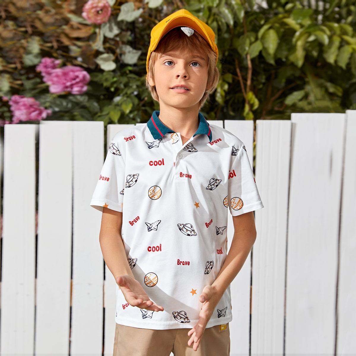 Пуговица графический повседневный рубашки поло для мальчиков