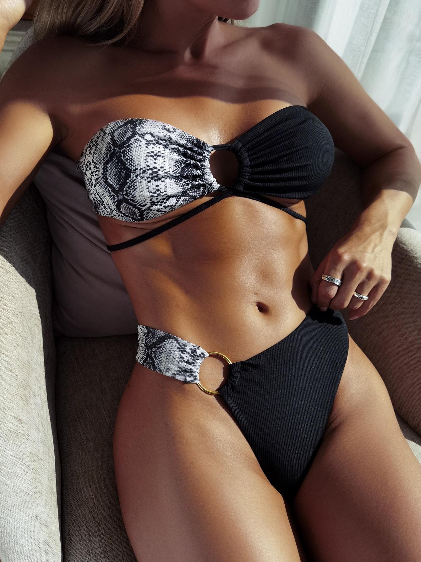 Snakeskin Print Wrap Bikini Swimsuit thumbnail