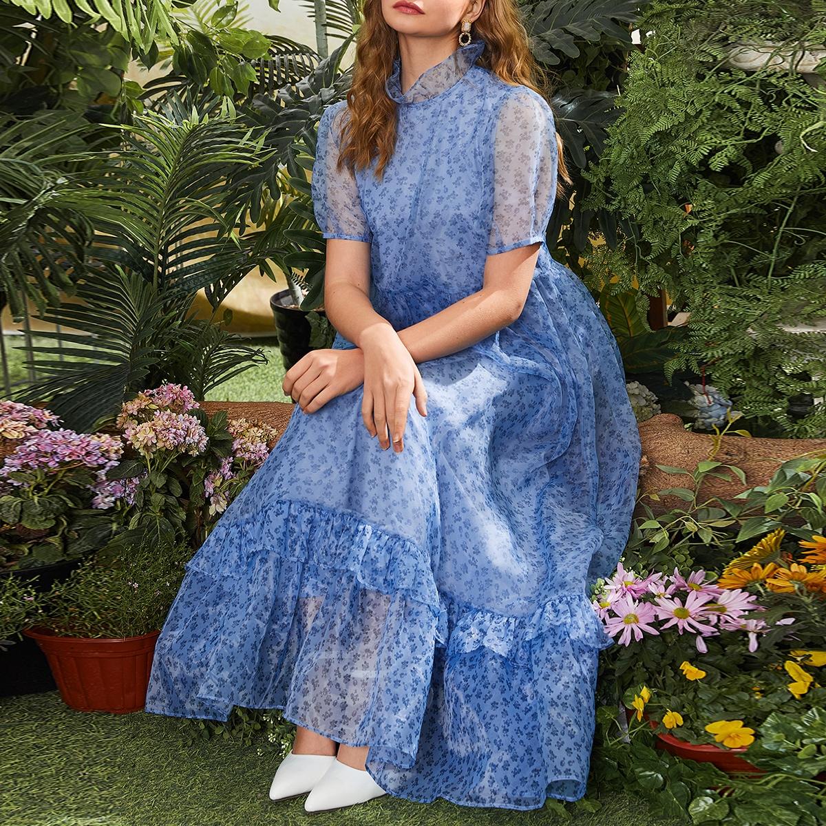 на пуговицах цветочный Элегантный Платье