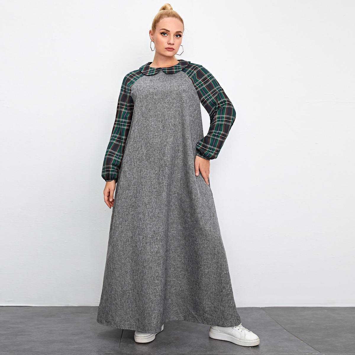 Контрастное платье размера плюс в клетку